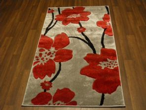 Modern New Rug Aprox 5x2ft6 80cmx150cm Woven Thick best around Silver/Red poppy